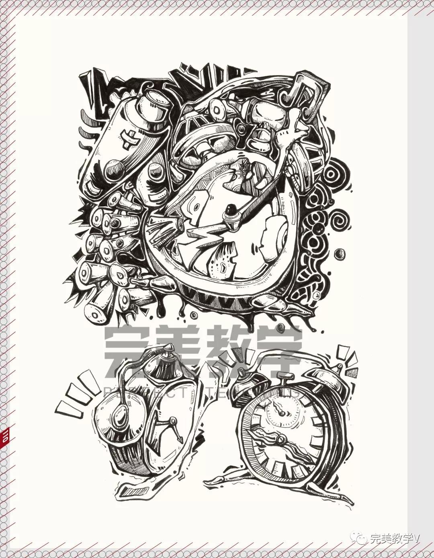 装饰画彩色马克笔手绘字体设计素描创意速写动漫绘画央美清华川美书图片