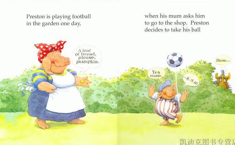 英国进口儿童英文原版学习绘本小笨猪与大坏狼系列 preston pig