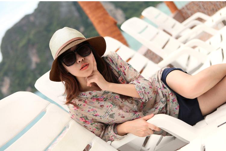 女士遮阳帽 太阳帽草帽草编小礼帽海 边度假沙滩帽子 情侣潮_蓝色