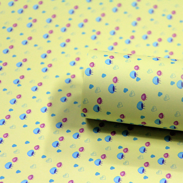 韩国创意 韩版包装纸|墙纸 礼品包装|包书皮纸 装饰 可爱小水母 一包