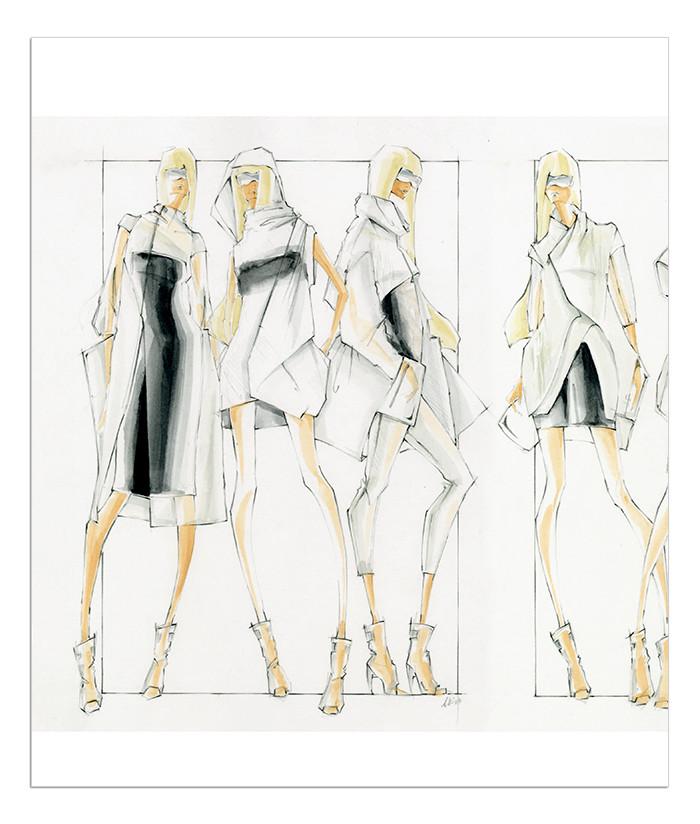 手绘表现技法是学习服装设计必备的基础技能之一.