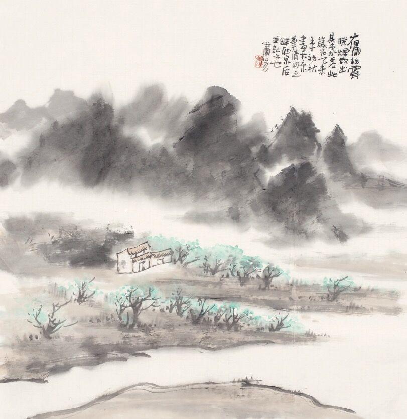 新中式水墨山河风景画