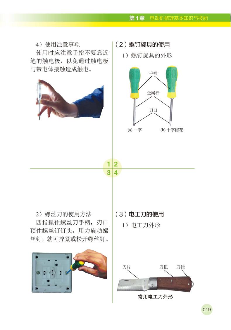 第 1 章 电动机修理基本知识与技能 001 / 1.1  电工学基本知识 002 1.1.1 电与磁 002 1.1.2 直流电路 003 1.1.3 单相交流电 006 1.2  电动机修理基本知识 007 1.2.1 绕组的常用概念 007 1.2.2 绕组的分类 009 1.2.3 电动机修理常用名词术语 011 1.2.4  交流感应电动机的结构 013 1.