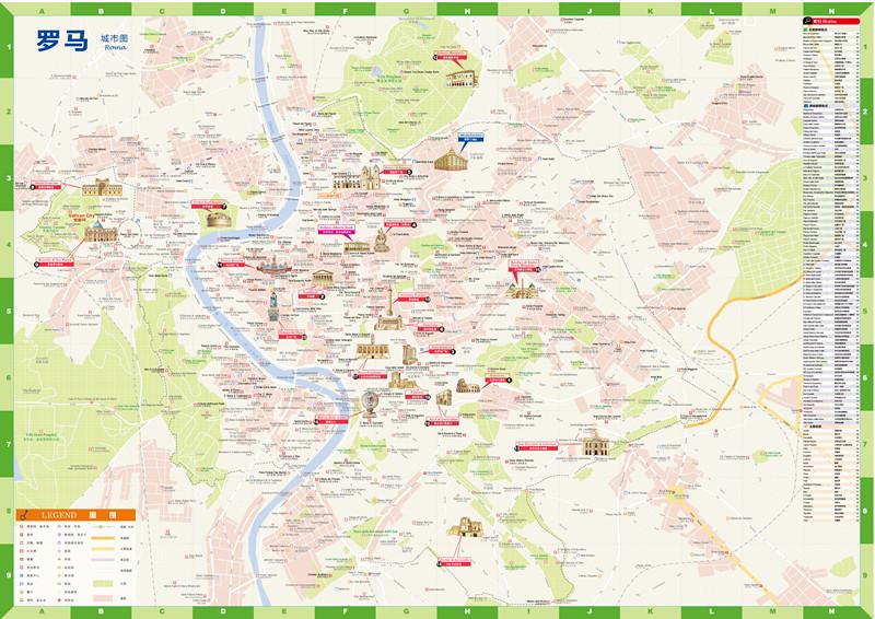 出国游城市旅游地图罗马
